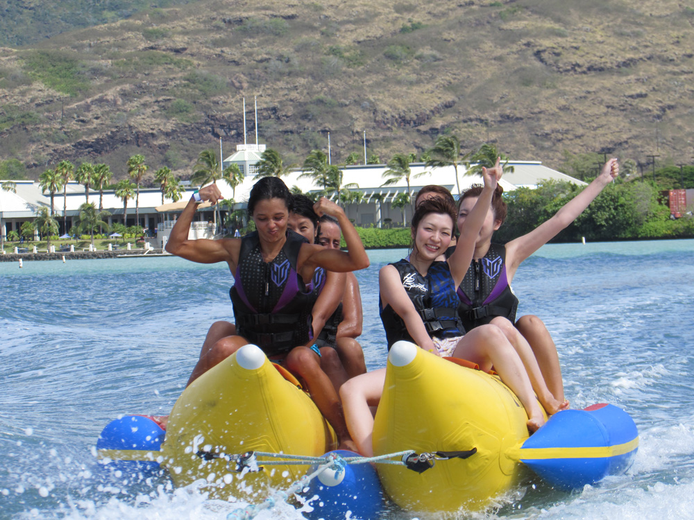 the banana boat ride Banana boat rides are great fun for family gatherings, birthdays, youth groups, simply put the tweens will love it who wouldn't want the thrill of skimming across the water behind a power boat sitting on a big yellow banana.